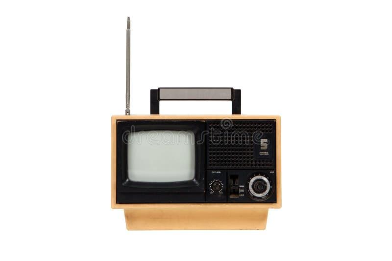 παλαιά φορητή αναδρομική τηλεόραση κίτρινη στοκ φωτογραφίες