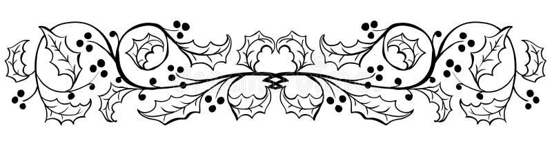 Παλαιά φύλλα της Holly που χαράσσουν τα σύνορα - διανυσματική απεικόνιση διανυσματική απεικόνιση