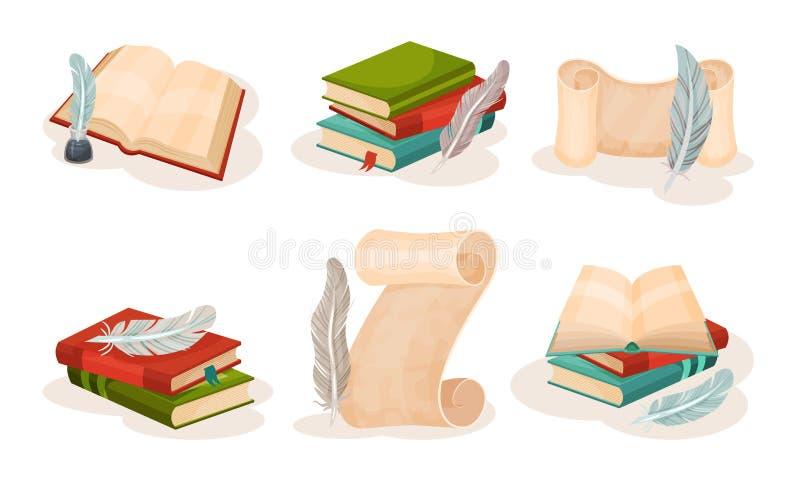 Παλαιά χάρτινα πάπυρα, βιβλία και πένες, ρετρό γραφή, σύμβολα επιστήμης και γνώσης διανυσματική απεικόνιση