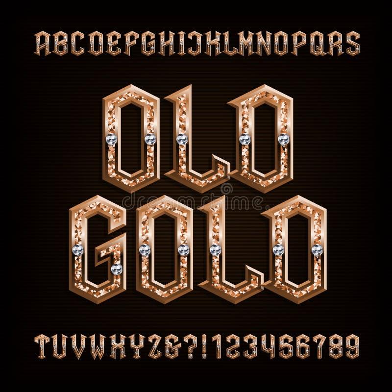 Παλαιά χρυσή πηγή αλφάβητου Περίκομψοι χρυσοί επιστολές και αριθμοί με τα διαμάντια διανυσματική απεικόνιση