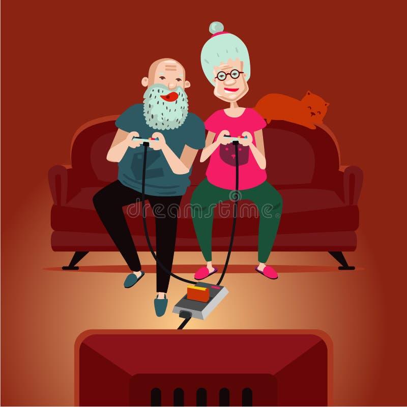 Παλαιά gamers Οι ενήλικοι πρεσβυτέρων συνδέουν τα παίζοντας τηλεοπτικά παιχνίδια διανυσματική απεικόνιση