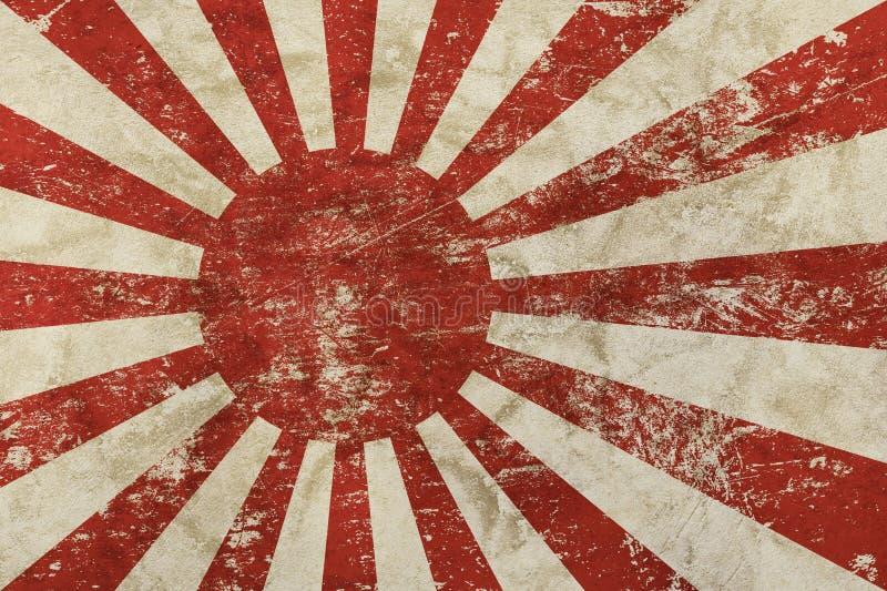 Παλαιά Nippon σημαία της Ιαπωνίας grunge εξασθενισμένη τρύγος απεικόνιση αποθεμάτων