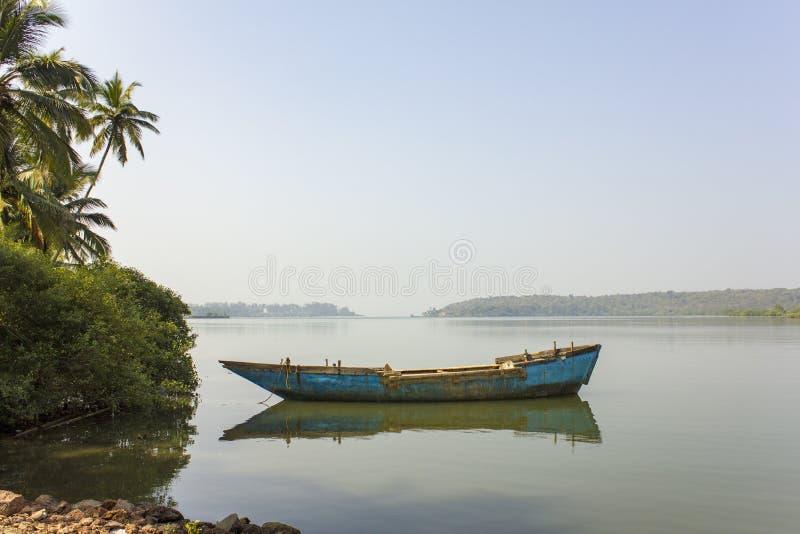 Παλαιά shabby μπλε βάρκα στο νερό κοντά στους πράσινους φοίνικες στο υπόβαθρο της misty κοιλάδας ποταμών στοκ εικόνα με δικαίωμα ελεύθερης χρήσης