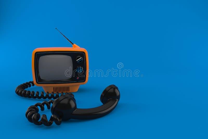 Παλαιά TV με το τηλεφωνικό μικροτηλέφωνο ελεύθερη απεικόνιση δικαιώματος
