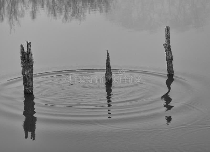 Παλαιές θέσεις λιμενοβραχιόνων, κυματισμοί νερού Ποταμός Wey, Surrey στοκ φωτογραφίες