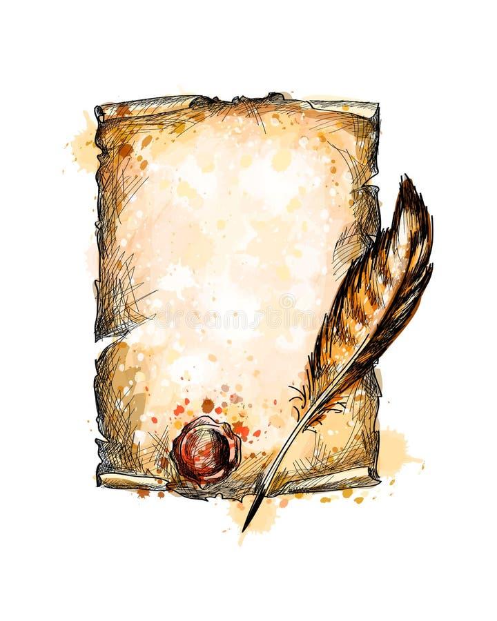 Παλαιές κενές έγγραφο κυλίνδρων και πέννα φτερών διανυσματική απεικόνιση