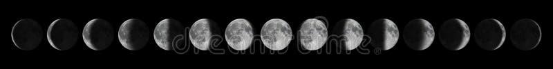 παλαιές νεολαίες φάσεων πανσελήνων Σεληνιακός κύκλος φεγγαριών στοκ εικόνες
