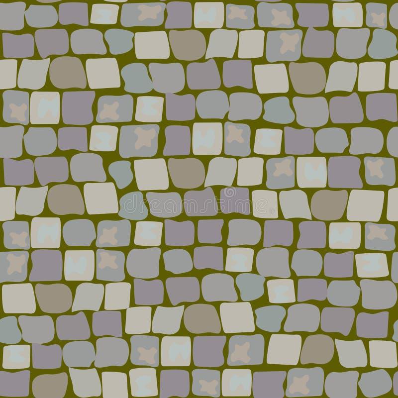 Παλαιές πέτρες επίστρωσης με το βρύο και την τύρφη Άνευ ραφής σχέδιο οδικής σύστασης ο τοίχος της πέτρας, η οδός με τη χλόη απεικόνιση αποθεμάτων