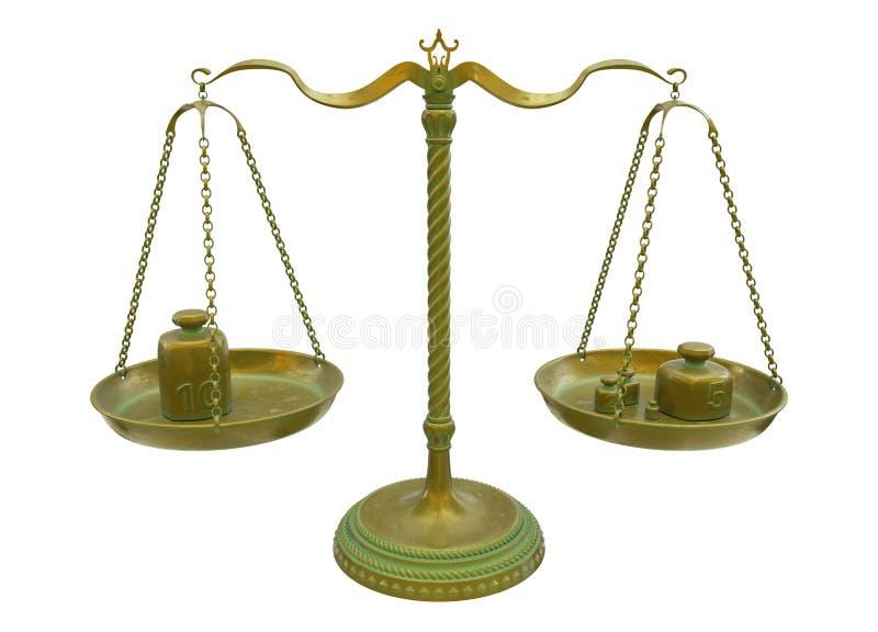 Παλαιές χρυσές κλίμακες ισορροπίας ορείχαλκου που απομονώνονται στο άσπρο υπόβαθρο r ελεύθερη απεικόνιση δικαιώματος
