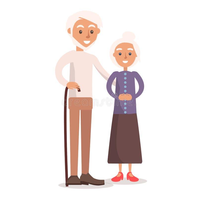 Παλαιοί γιαγιά και παππούς με την άσπρη τρίχα απεικόνιση αποθεμάτων