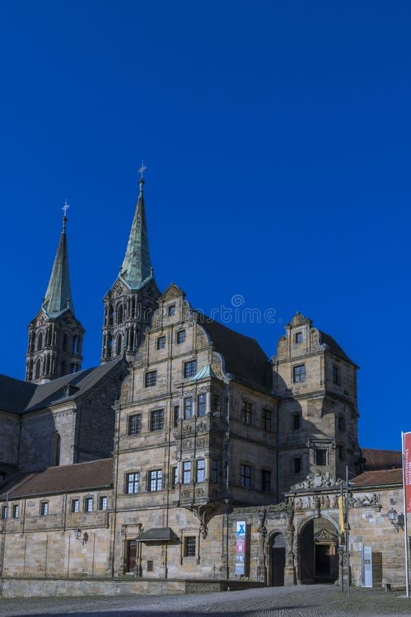 Παλαιοί δικαστήριο και καθεδρικός ναός στη Βαμβέργη, Franconia, Γερμανία στοκ φωτογραφία με δικαίωμα ελεύθερης χρήσης
