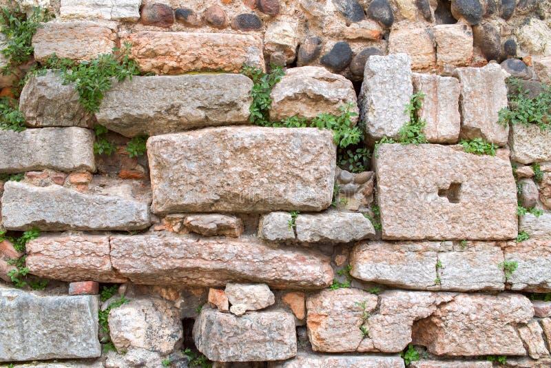 Παλαιοί ευρωπαϊκοί πέτρα και τουβλότοιχος με τα άγρια φύλλα στοκ εικόνα με δικαίωμα ελεύθερης χρήσης