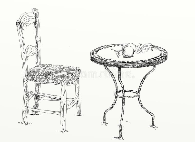 Παλαιοί πίνακας και καρέκλα διανυσματική απεικόνιση