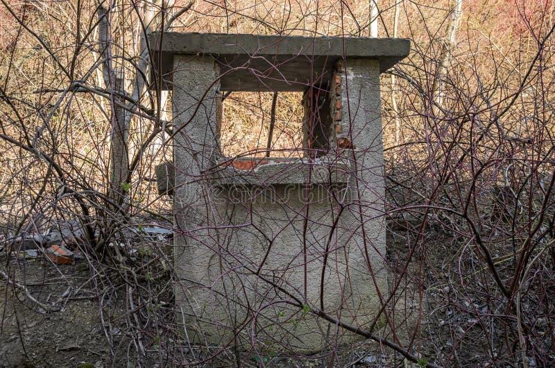 Παλαιός εγκαταλειμμένος καταρρεσμένος άξονας εξαερισμού μεταξύ των Μπους και των δέντρων στοκ εικόνα
