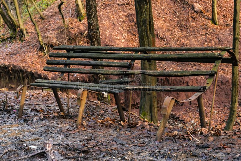 Παλαιός εγκαταλειμμένος πάγκος στο δάσος στοκ φωτογραφία