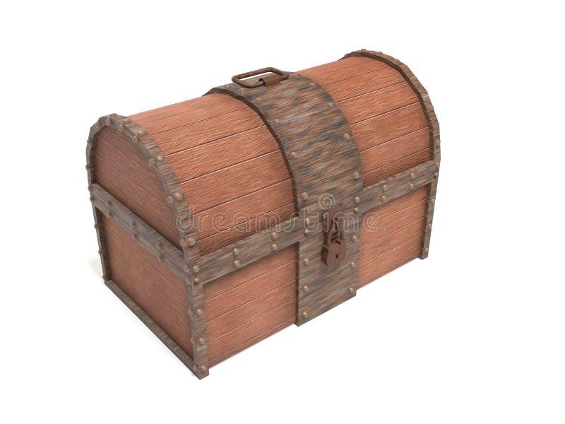 Παλαιός εκλεκτής ποιότητας ξύλινος κορμός με τα οξυδωμένα στοιχεία μετάλλων δίνοντας απεικόνιση που απομονώνεται τρισδιάστατη απεικόνιση αποθεμάτων