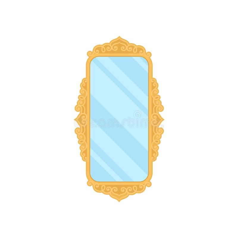 Παλαιός καθρέφτης στο άσπρο υπόβαθρο r διανυσματική απεικόνιση
