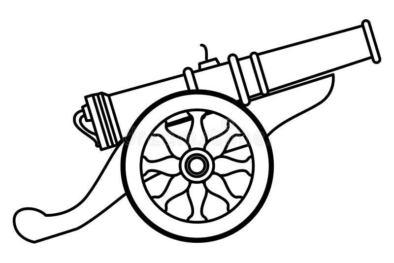 Παλαιός κανόνας με τα κινούμενα σχέδια όπλων ροδών σε γραπτό ελεύθερη απεικόνιση δικαιώματος