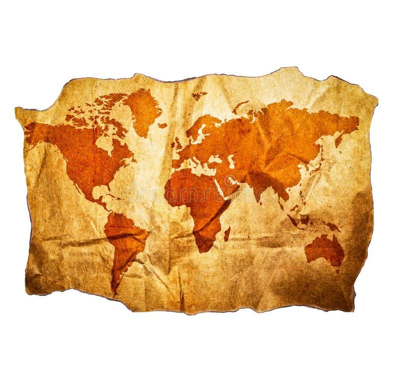 Παλαιός παγκόσμιος χάρτης με τις όμορφες λεπτομέρειες grunge που απομονώνονται στο άσπρο υπόβαθρο στοκ φωτογραφία