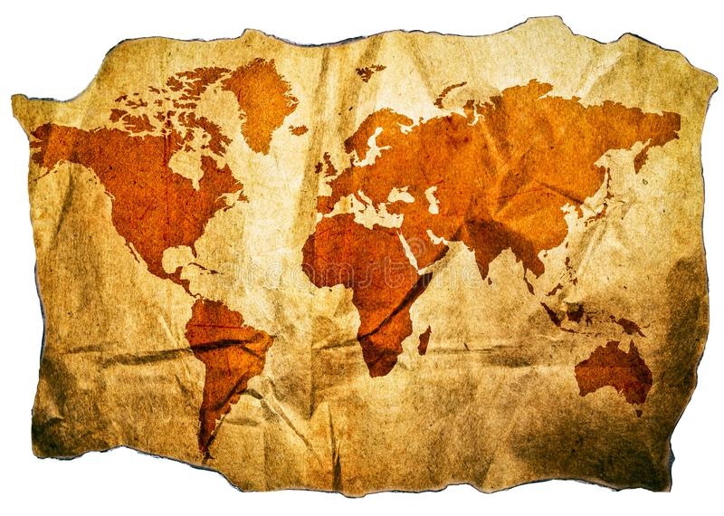 Παλαιός παγκόσμιος χάρτης με τις όμορφες λεπτομέρειες grunge που απομονώνονται στο άσπρο υπόβαθρο στοκ εικόνα