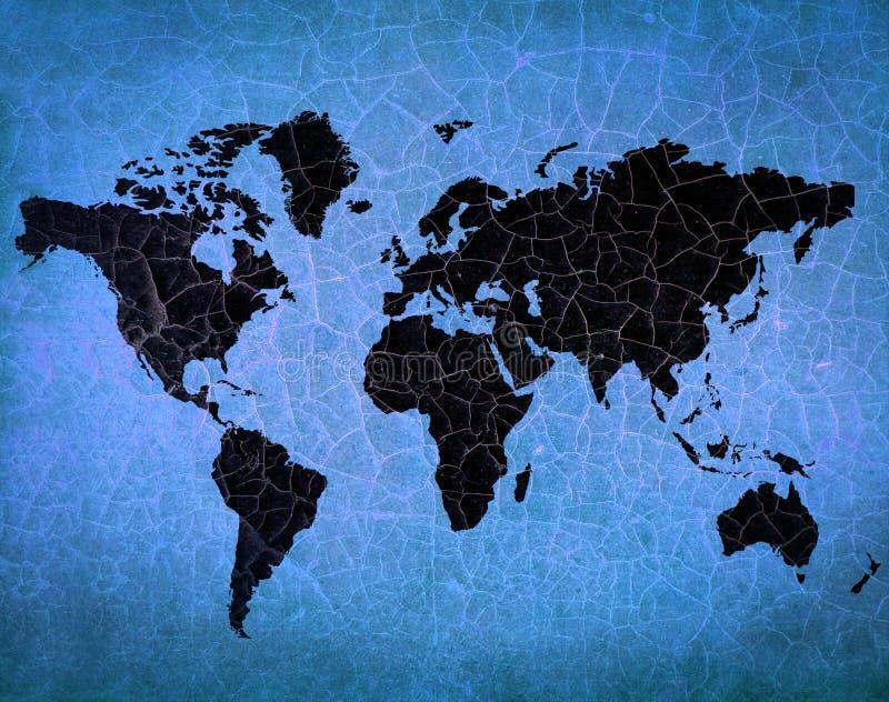 Παλαιός παγκόσμιος χάρτης ραγισμένο σε grunge χαρτί στοκ εικόνες