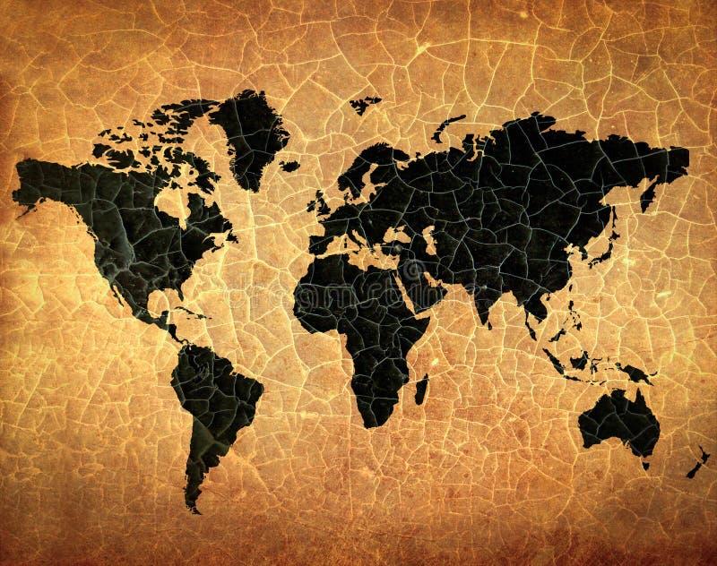 Παλαιός παγκόσμιος χάρτης ραγισμένο σε grunge χαρτί στοκ φωτογραφία με δικαίωμα ελεύθερης χρήσης