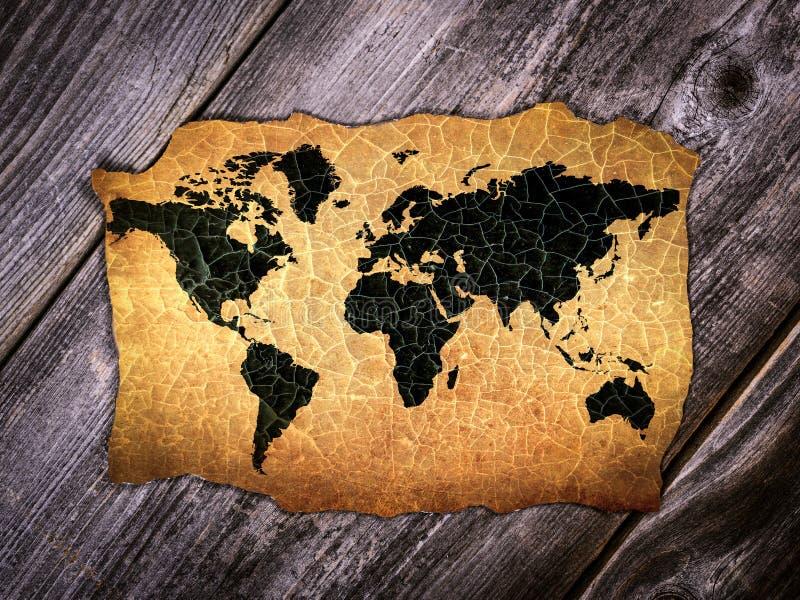 Παλαιός παγκόσμιος χάρτης στο γραφείο στοκ εικόνα