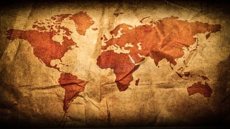 Παλαιός παγκόσμιος χάρτης στο ξύλινο πλαίσιο grunge στοκ φωτογραφία