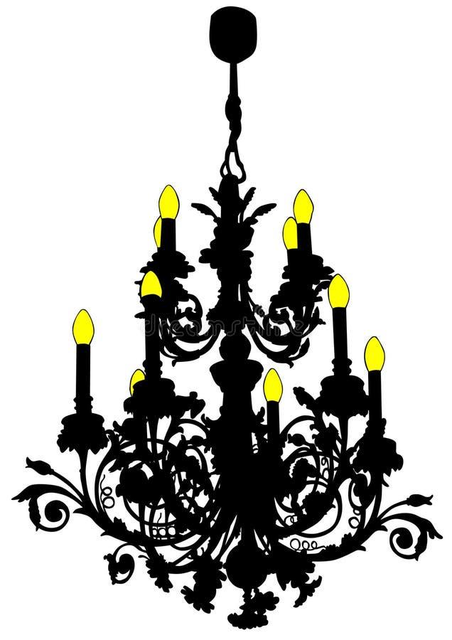 Παλαιός πολυέλαιος τρία διανυσματική απεικόνιση