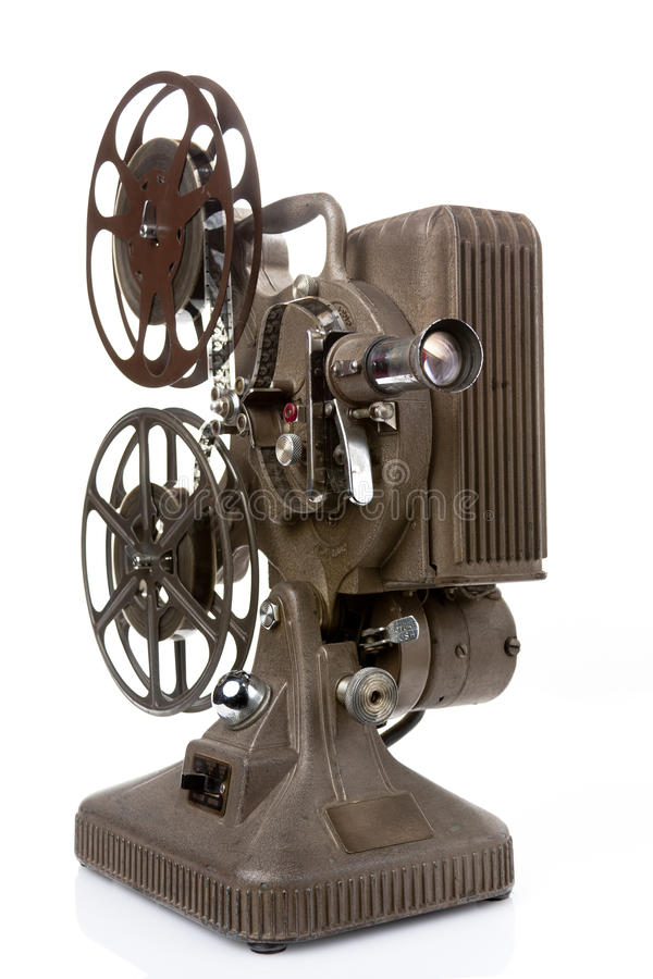 Παλαιός προβολέας ταινιών που απομονώνεται στο λευκό στοκ φωτογραφίες