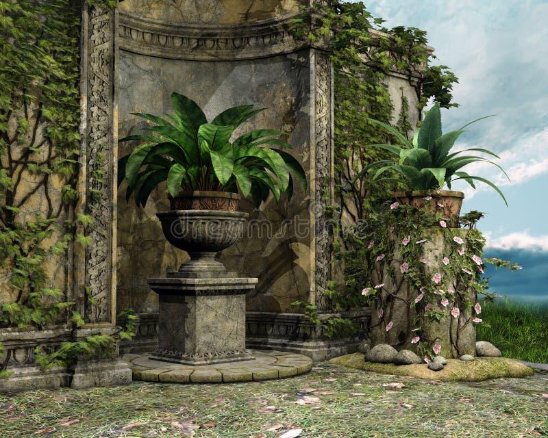 Παλαιός τοίχος κήπων απεικόνιση αποθεμάτων