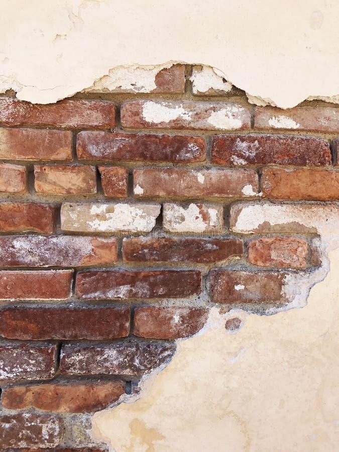 Παλαιός τοίχος τούβλου & ασβεστοκονιάματος στοκ φωτογραφίες