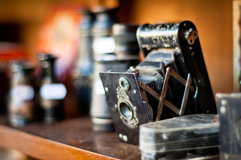παλαιός τρύγος φωτογραφίας εξοπλισμών φωτογραφικών μηχανών στοκ εικόνα