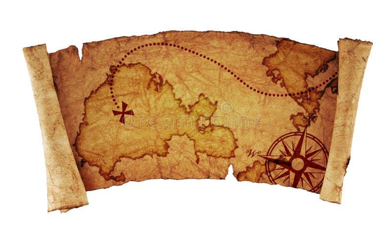 Παλαιός χάρτης θησαυρών ελεύθερη απεικόνιση δικαιώματος