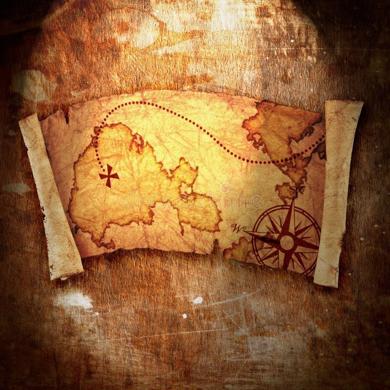 Παλαιός χάρτης θησαυρών απεικόνιση αποθεμάτων