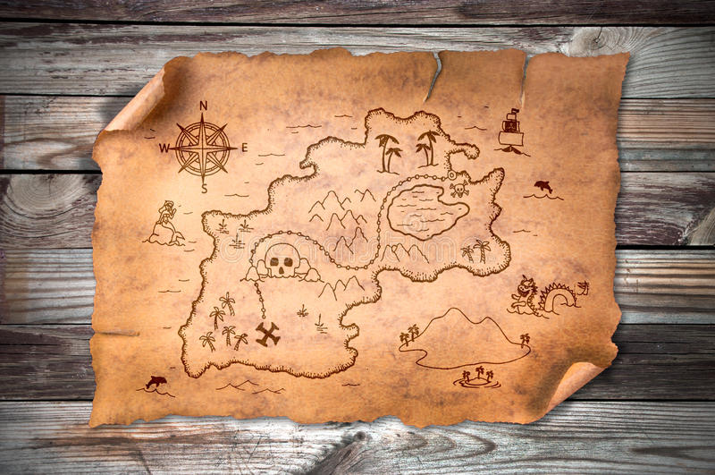 Παλαιός χάρτης θησαυρών στοκ εικόνα με δικαίωμα ελεύθερης χρήσης