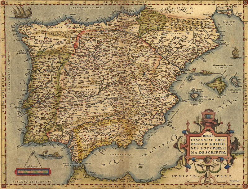 παλαιός χάρτης Ισπανία απεικόνιση αποθεμάτων