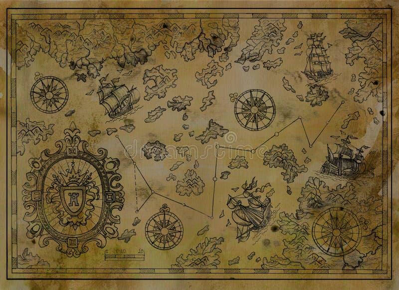 Παλαιός χάρτης με το μπαρόκ έμβλημα, πυξίδες, παλαιά σκάφη πειρατών στη σύσταση εγγράφου διανυσματική απεικόνιση