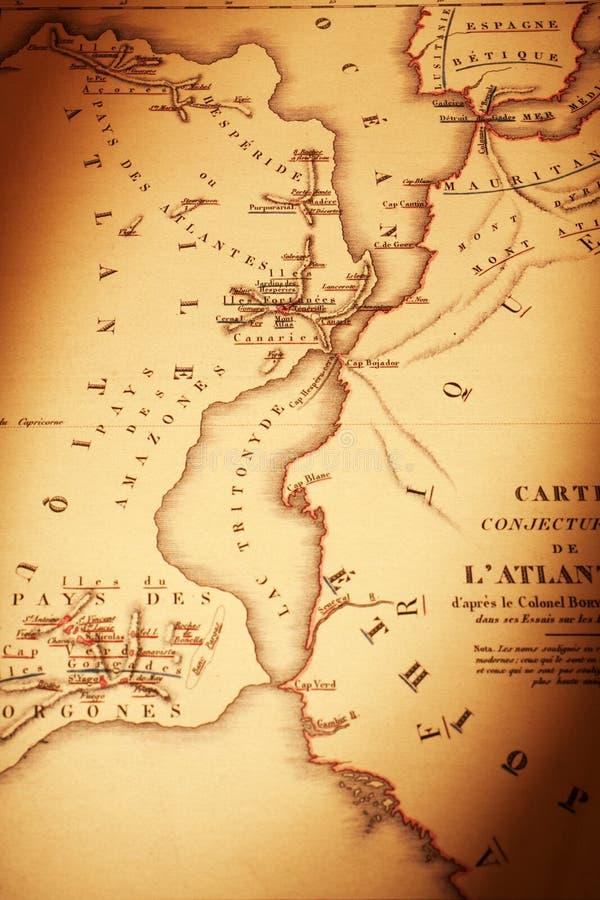 Παλαιός χάρτης που παρουσιάζει Atlantis με την Αφρική και την Ισπανία στοκ εικόνα