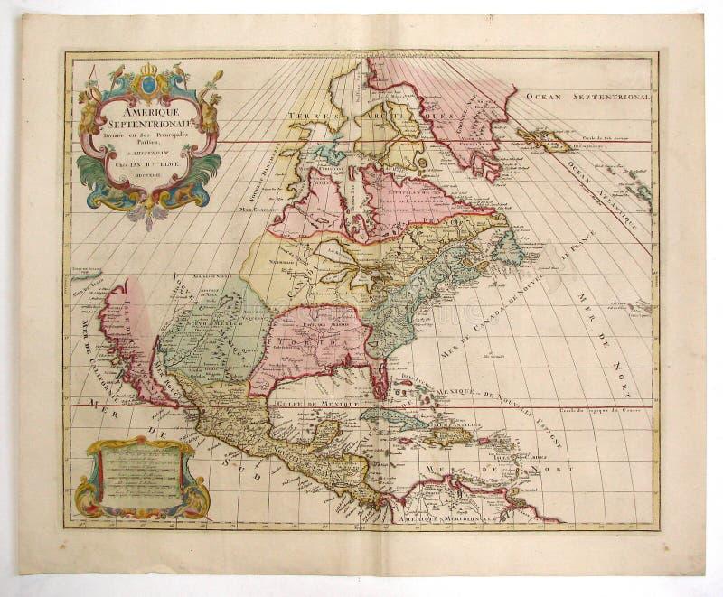 παλαιός χάρτης της Αμερική στοκ φωτογραφία