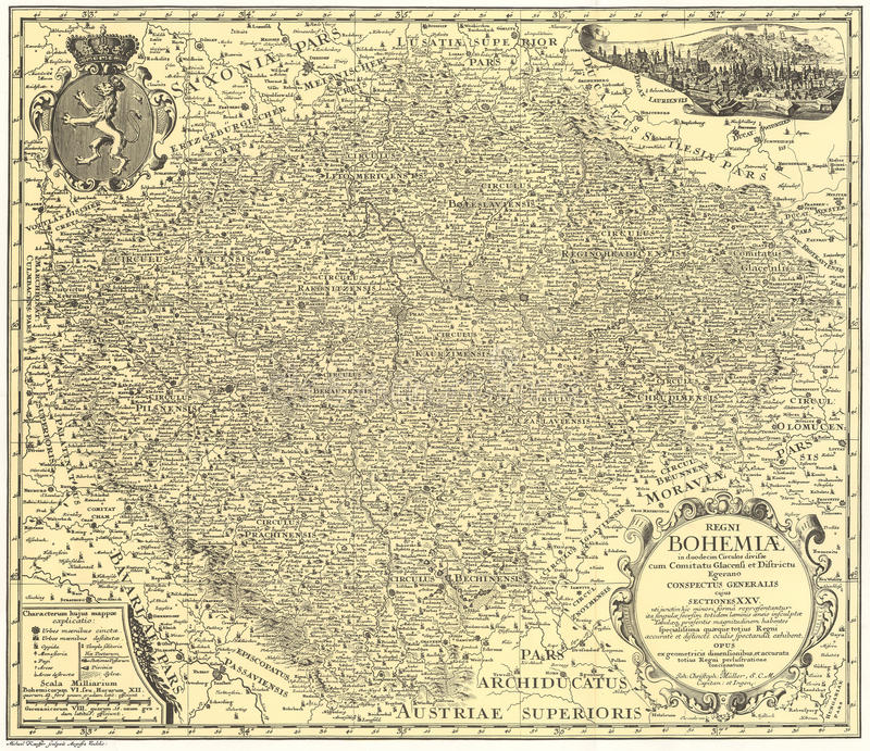 Παλαιός χάρτης τροχών της Βοημίας από στοκ φωτογραφίες