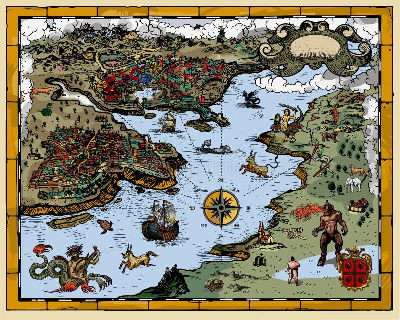 παλαιός χάρτης διανυσματική απεικόνιση