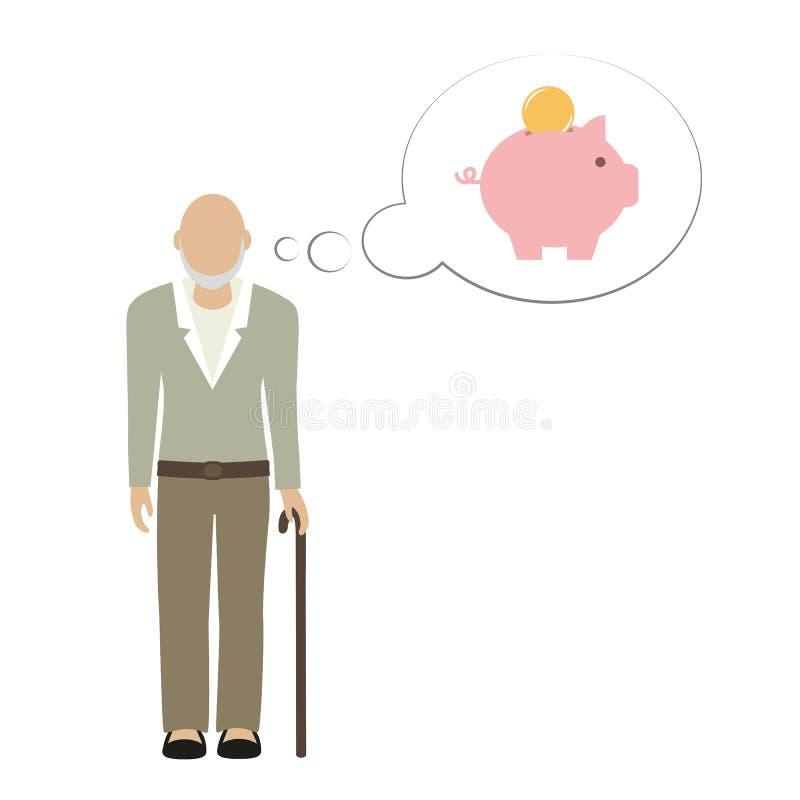 Παλαιός χαρακτήρας grandpa ατόμων που σκέφτεται για τα χρήματα αποταμίευσης στη piggy τράπεζα απεικόνιση αποθεμάτων