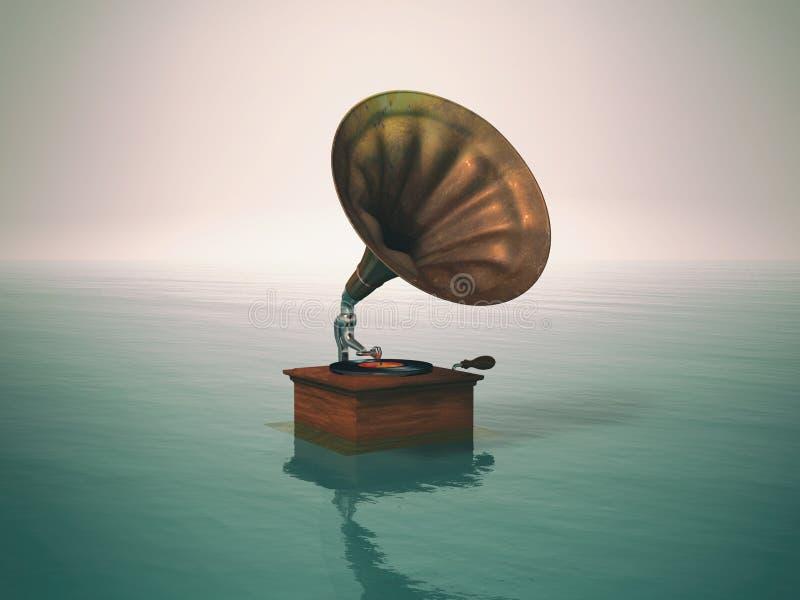 Παλαιός gramophone φορέας μουσικής απεικόνιση αποθεμάτων