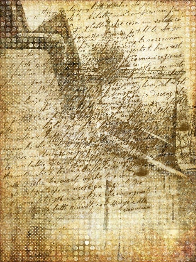 παλαιό έγγραφο πόλεων τέχνη διανυσματική απεικόνιση