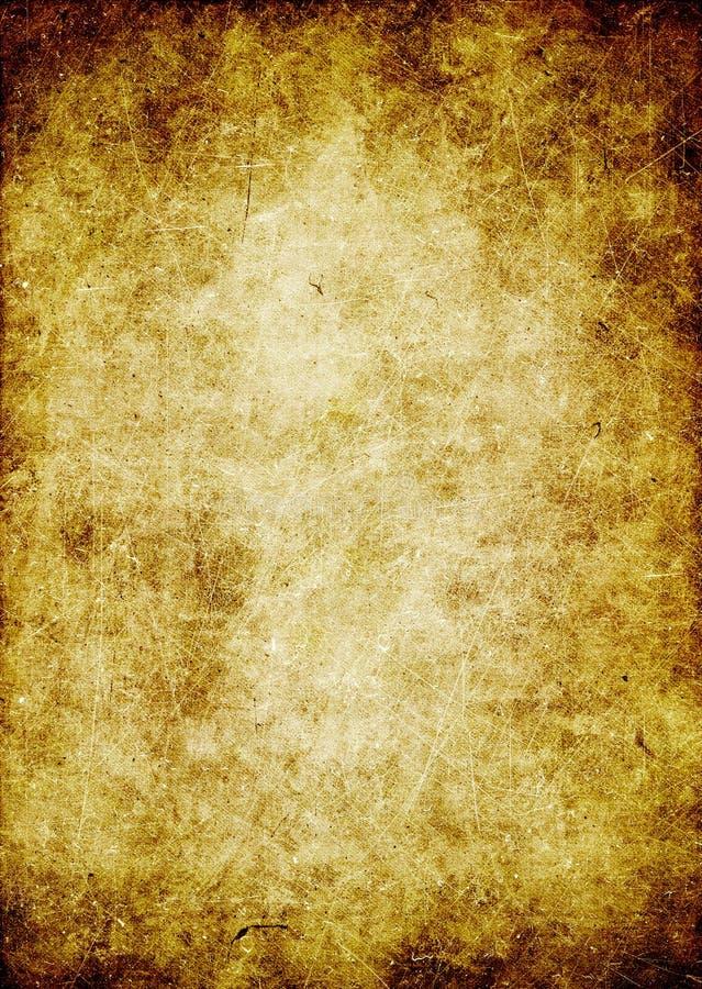 Παλαιό έγγραφο σύστασης Grunge, λεκέδες, γρατσουνιές, μπεζ, κίτρινο backg διανυσματική απεικόνιση