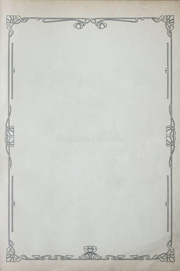 Παλαιό έγγραφο Grunge με τη Floral διακόσμηση στοκ εικόνα