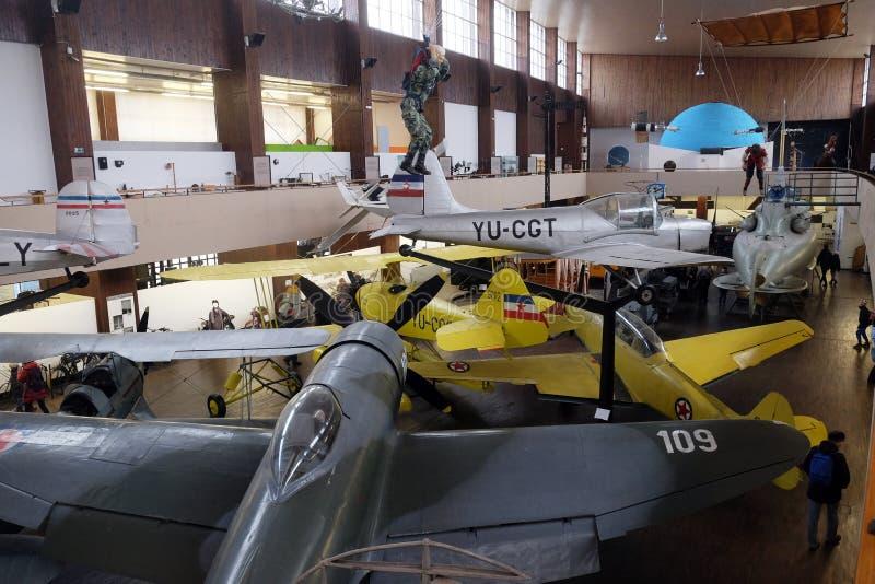 Παλαιό αεροπλάνο στο τεχνικό μουσείο τέσλα της Nikola στο Ζάγκρεμπ στοκ εικόνα με δικαίωμα ελεύθερης χρήσης