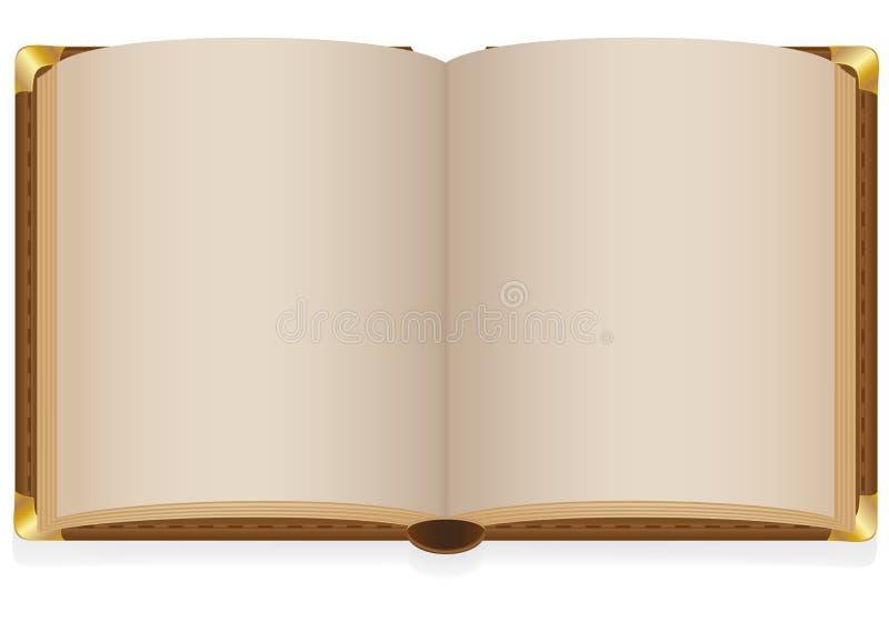 Παλαιό ανοικτό βιβλίο με τα κενά φύλλα ελεύθερη απεικόνιση δικαιώματος
