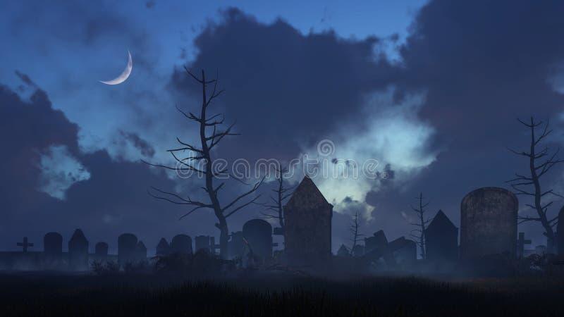 Παλαιό απόκοσμο νεκροταφείο στη νύχτα σεληνόφωτου απεικόνιση αποθεμάτων
